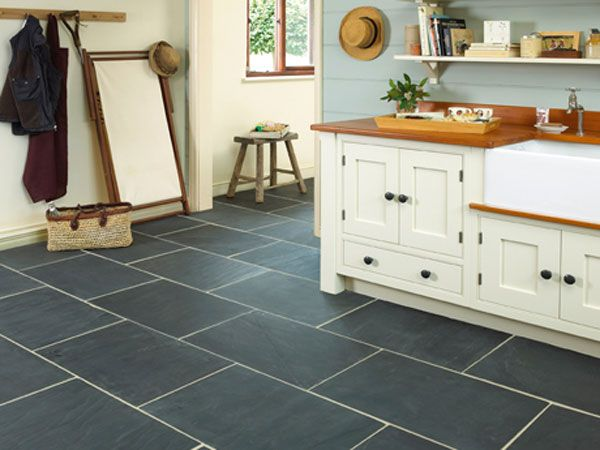 Grey tile flooring