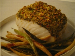"""Cod Filets with Pistachio-Pesto Crust & Green Bean """"Fries"""" Rozanne ..."""