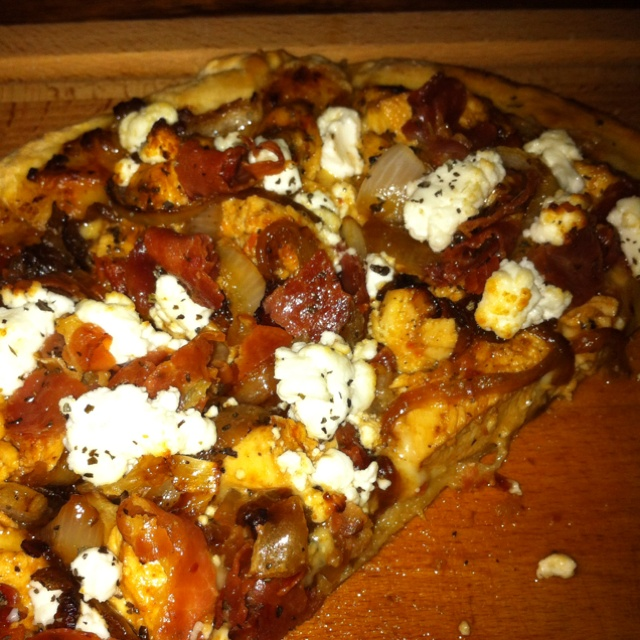 ... chicken sautéed onion fontina cheese prosuitto crumbled goat cheese