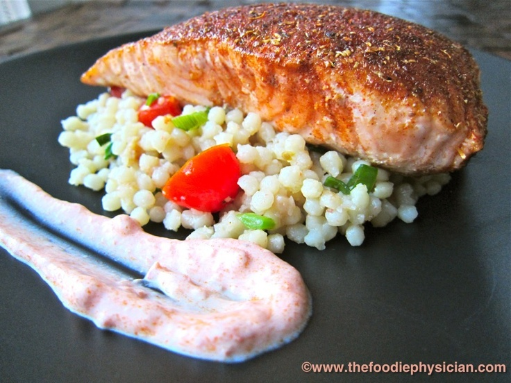 Moroccan Spiced Salmon with Harissa Yogurt and Pearl Couscous from the ...