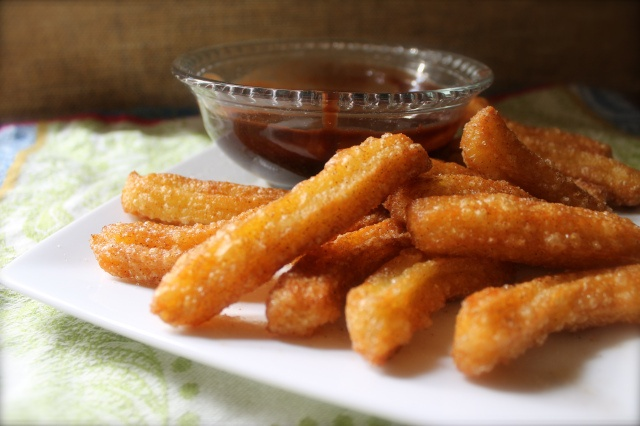Homemade Churros with Dark Chocolate Dipping Sauce