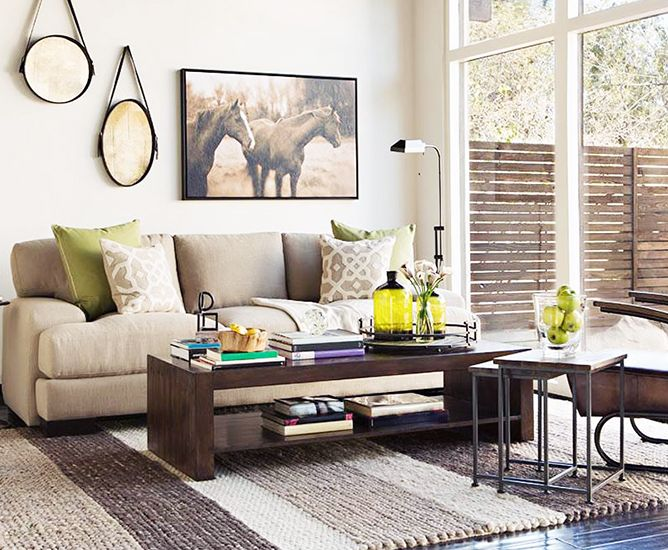 A bright room with apple green accents // Living Rooms