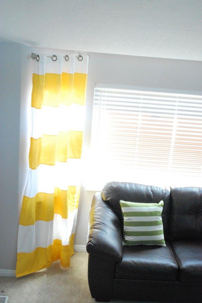 Yellow Stripe Curtain Living Room Pinterest