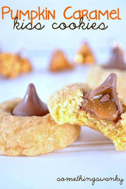 Something Swanky: desserts and designs.: Pumpkin Caramel Kiss Cookies