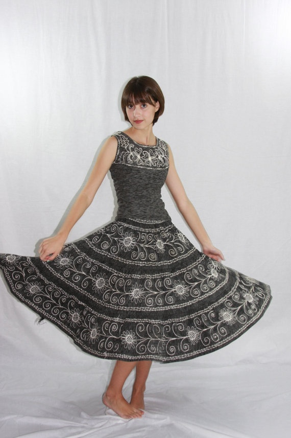 black and white ethnic vintage outfit