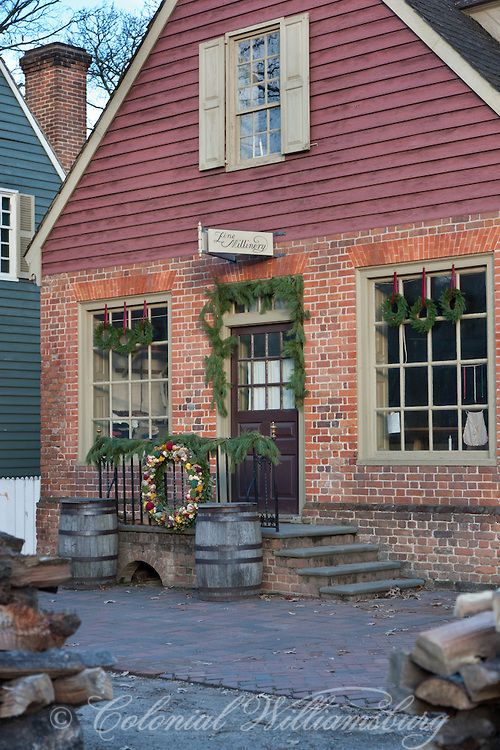 Christmas season in front of the Golden Ball, Colonial Williamsburg's Historic Area.  Photo by David M. Doody