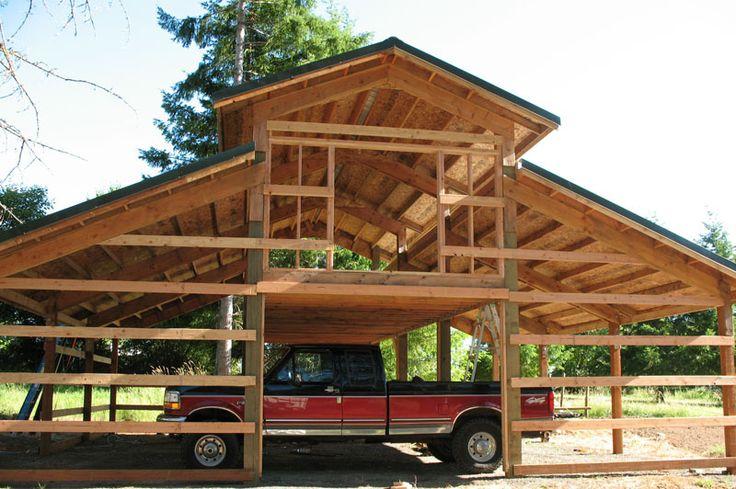 Framing loft pole barn buildings barns shops pinterest for Pole barn with loft