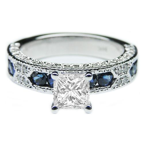 ... - Princess Cut Diamond Vintage Engagement Ring Blue-Sapphire Accents