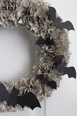 newspaper & bat wreath