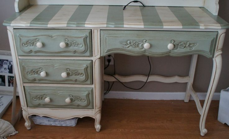 Painted stripes on desk all things shabby pinterest - Painting stripes on furniture ...