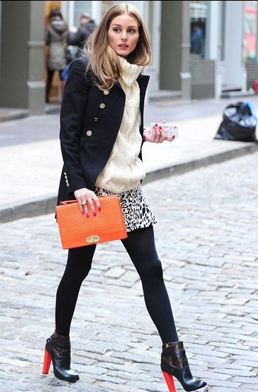 Olivia Palermo, black coat with skirt and chunky sweater