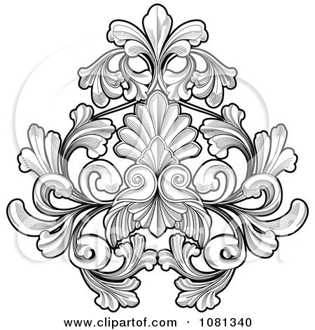 clipart black and white floral tattoo design element