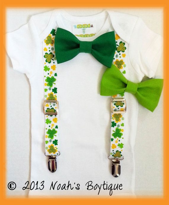 St Patricks Day Outfit Baby Boy Clover Suspenders Boy