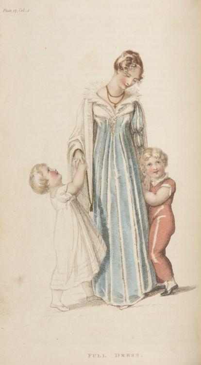 Nice view of children's clothing too Ackermann's Repository, Full Dress, September 1810.