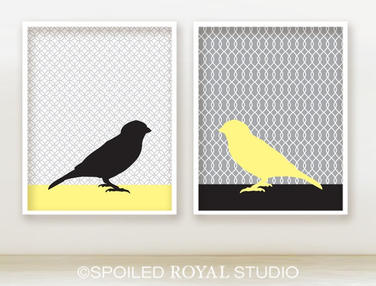 Love song birds 8x10 prints gray and yellow bathroom for Bathroom design ideas 8x10