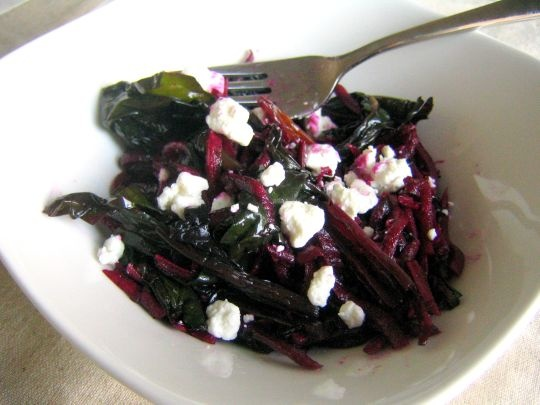 Sautéed Rainbow Chard with Raw Beets and Goat Cheese | Recipe