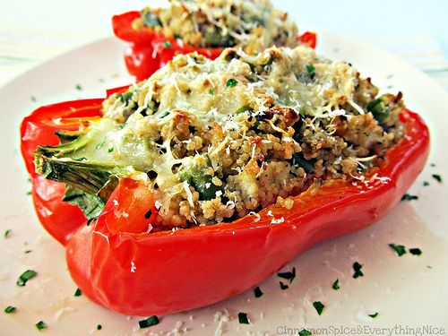 Basil Garlic Chicken and Couscous Stuffed Peppers