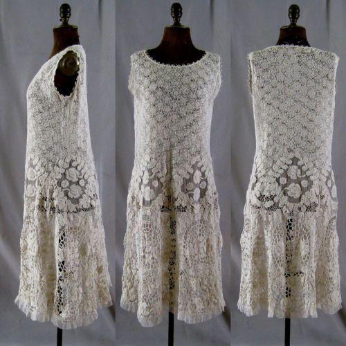 vintage irish crochet art deco flapper dress. Black Bedroom Furniture Sets. Home Design Ideas