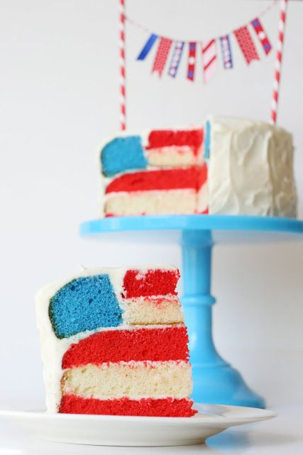 4th of July Flag Cake » Cute idea, could use white box cake and add food coloring.