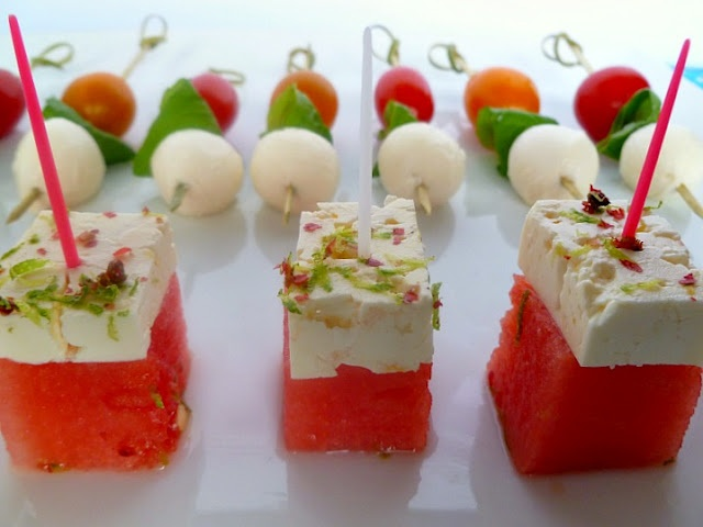 Watermelon and Feta Skewers | Party ideas | Pinterest