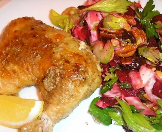 The Briny Lemon: Pan-Roasted Lemon Chicken with Root Vegetable Salad