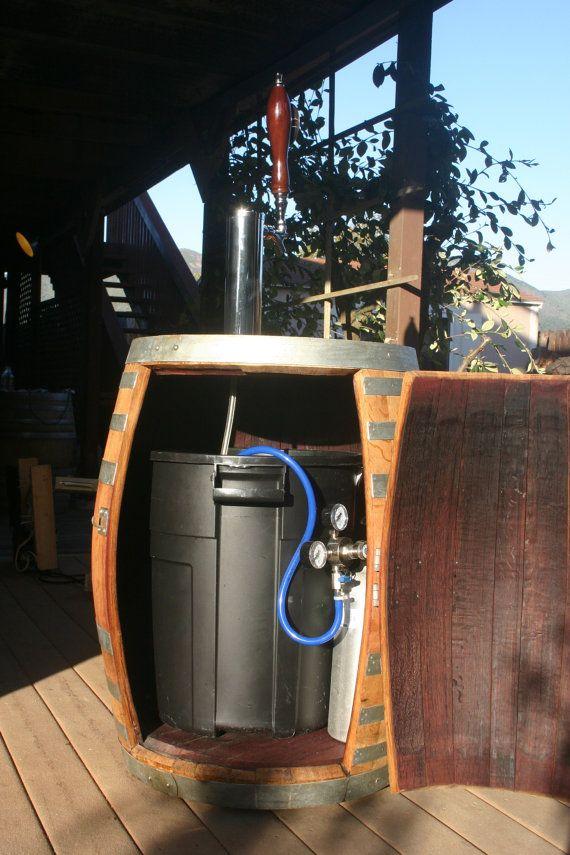 Wine barrel portable beer dispenser kegerator jockey box for How to make a wine barrel bar