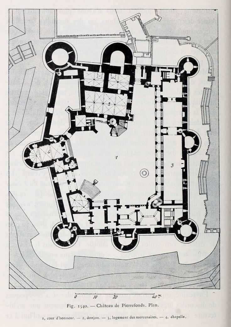 Floor plan of the ch teau de pierrefonds history of for Chateau blueprints