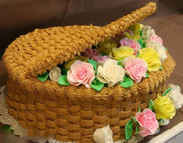 basket with flowers cake Cakes Pinterest