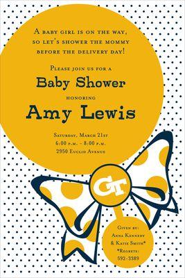 Georgia Tech Rattle Baby Shower Invitations
