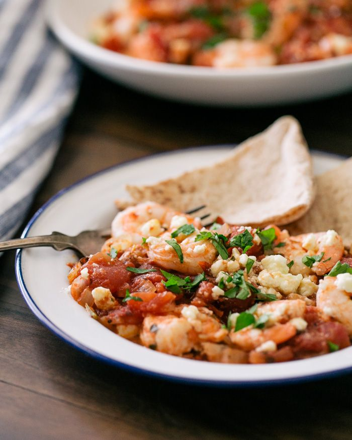 Baked Shrimp with Tomatoes and Feta | A Couple Cooks