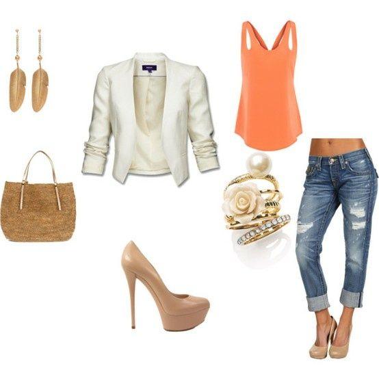 orange tank, blazer, nude heels, distressed denim