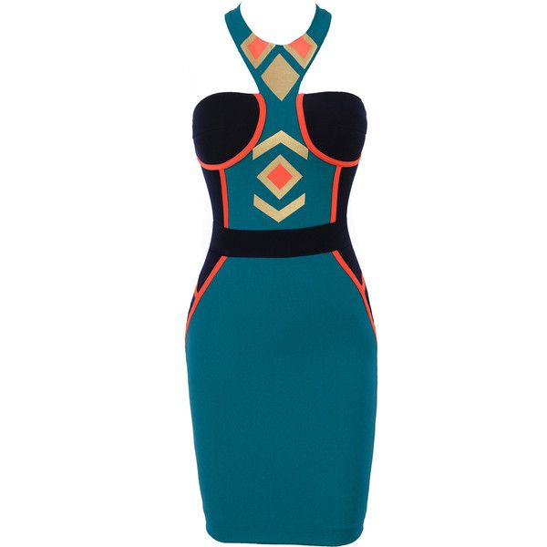 TORI' TEAL GOLD TRIBAL PRINT BODYCON DRESS ($175) liked on