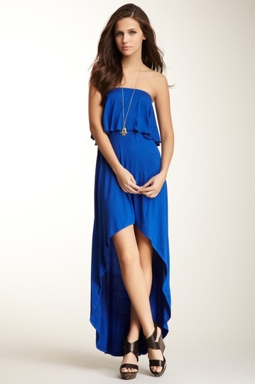 Ruffled strapless maxi dress by go couture on @hautelook