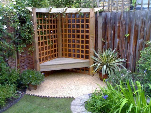 Corner pergola and bench dream garden pinterest for Small corner patio ideas