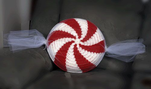 Peppermint Candy Pillow- Just learning how to crochet. I want to learn ...