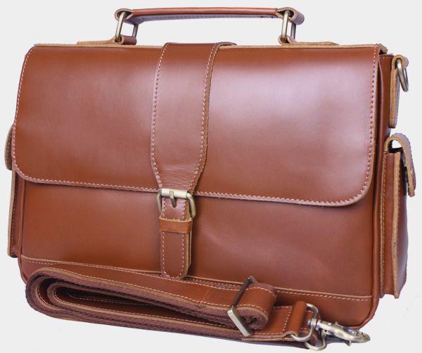"Handmade Genuine Leather Briefcase / Messenger / 11"" MacBook or 12"" Laptop Bag in reddish brown"