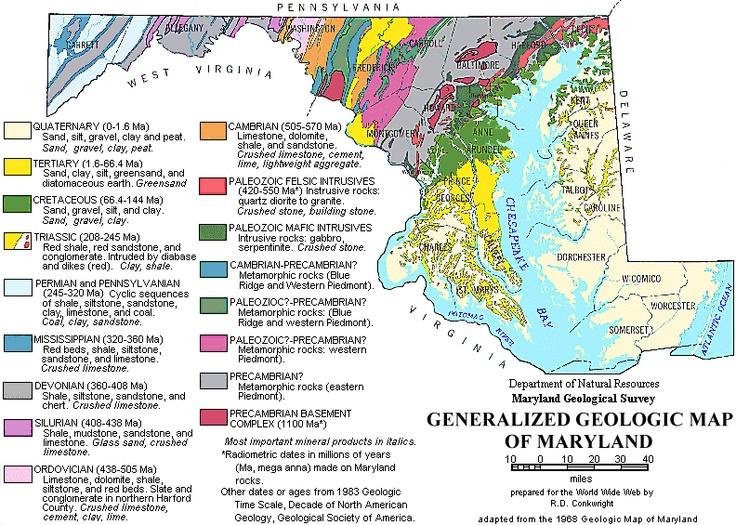 Geologic Map Of Maryland 1968  Geology Rocks  Pinterest
