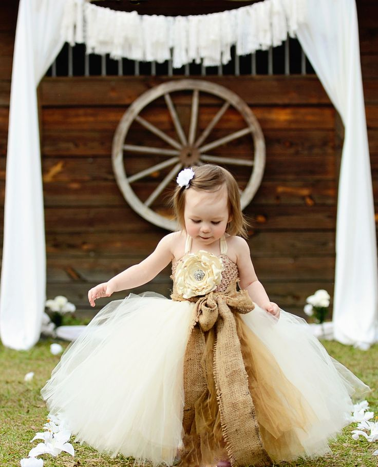 Rustic dream ivory flower girl tutu dress with removeable for Country wedding flower girl dresses