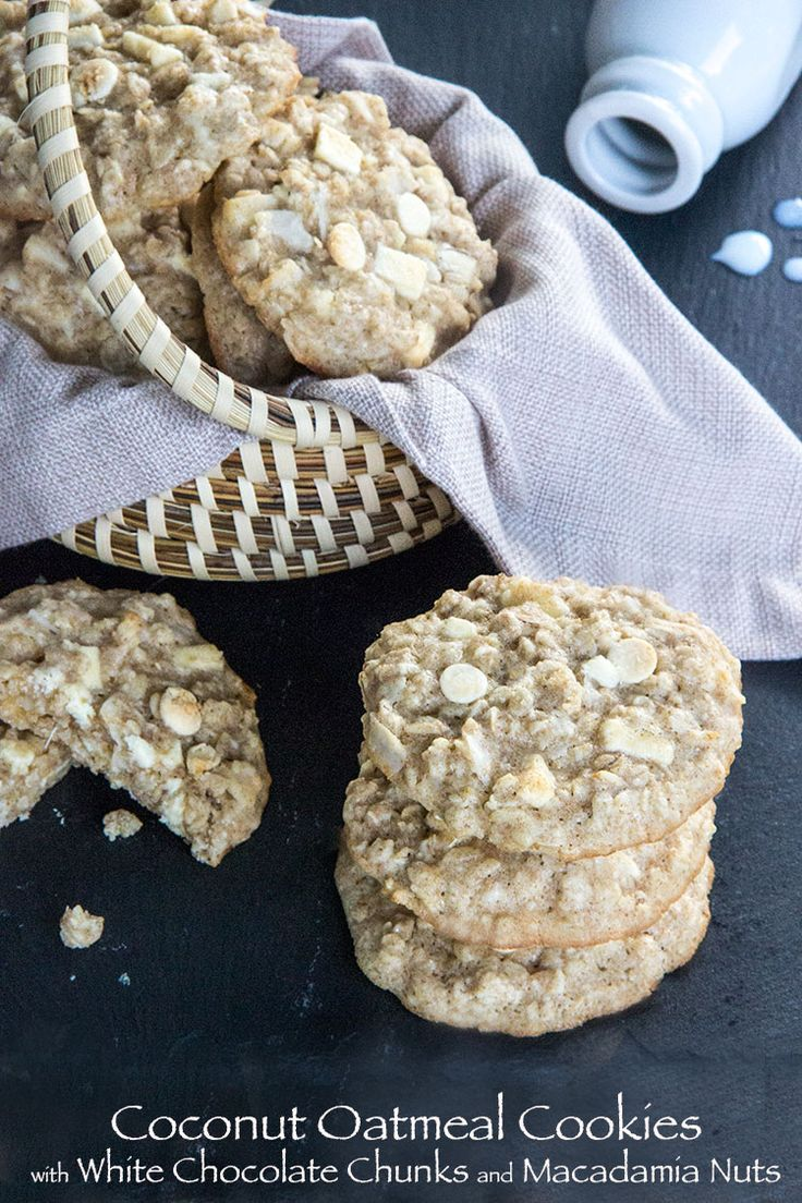 Coconut Oatmeal Cookies with White Chocolate Chunks and Macadamia Nut ...