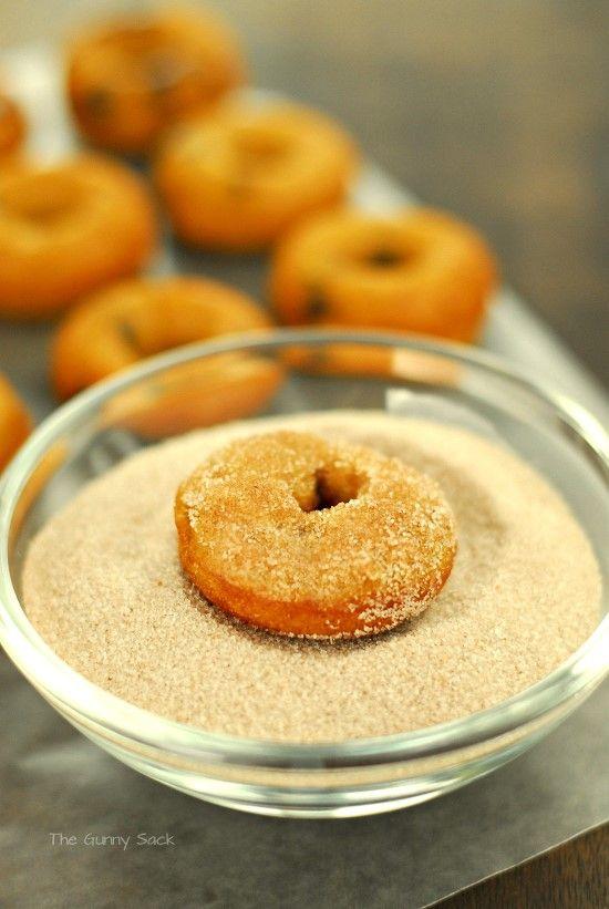 Cinnamon Sugar Baked Pumpkin Chocolate Chip Doughnuts