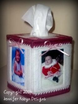 Photo Memories Tissue Box Cover Free Plastic Canvas Pattern