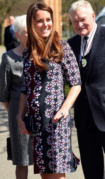 Catherine Middleton wearing a Sophia Visconti bloom silk dress by Canadian designer Erdem, April 2013