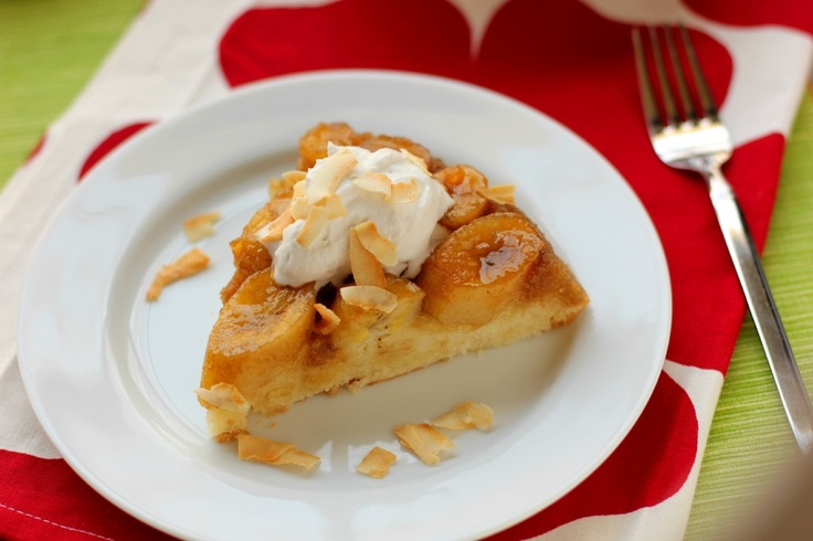 Caramelized Banana Upside-Down Coconut Cake and Coconut Whipped Cream ...