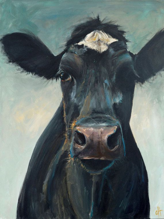 Cow painting hattie paper or canvas giclee print for Cow painting print