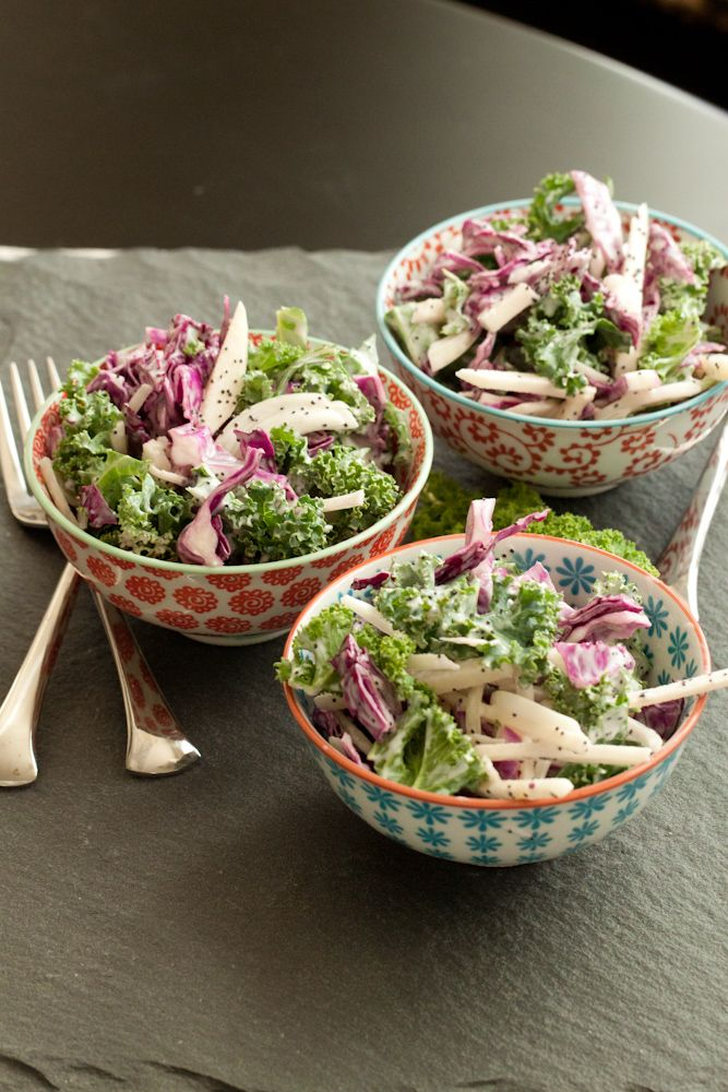 kale slaw + poppy seed-yogurt dressing | Salads | Pinterest