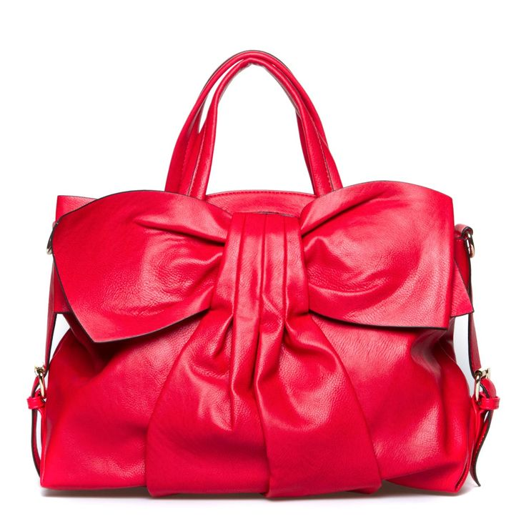 Lavish bag with oversized bow accent.