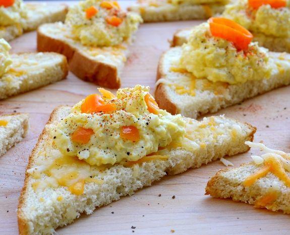 Pickled Habanero Deviled Egg Spread on Cheesy Toast | Recipe