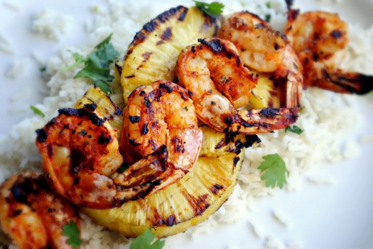 ... spicy shrimp with the grilled pineapple is great for a hot summer day