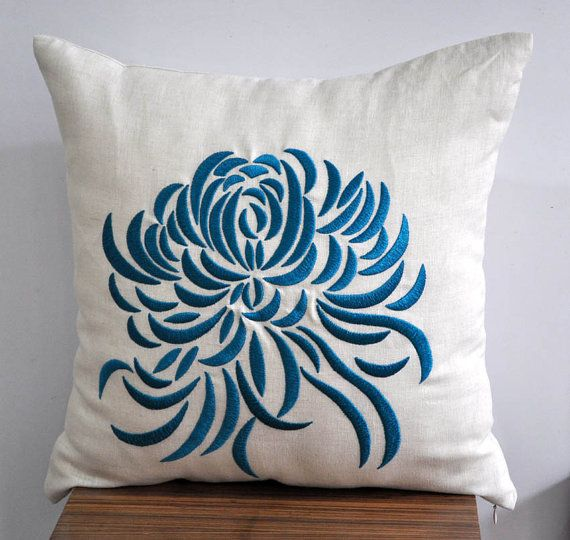 Blue Chrysant  Throw Pillow Cover  18 x 18  Beige by KainKain, $22.00