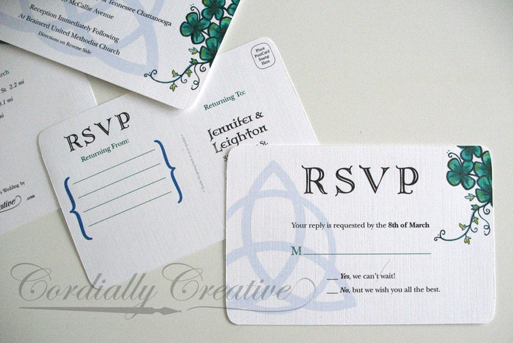 Rsvp post card with shamrock watercolor illustration and trinity knot